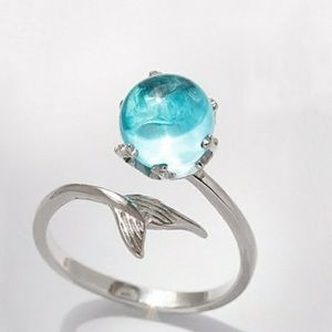 Blue water mermaid tail ring one size adjustable